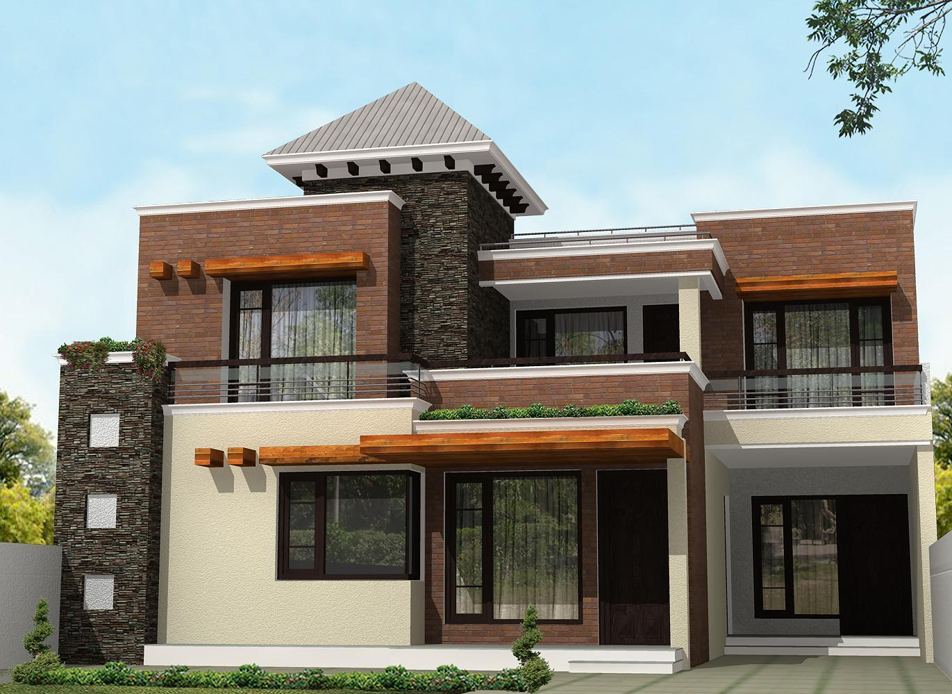 The gallery for modern elevation bungalows for Modern bungalow elevation