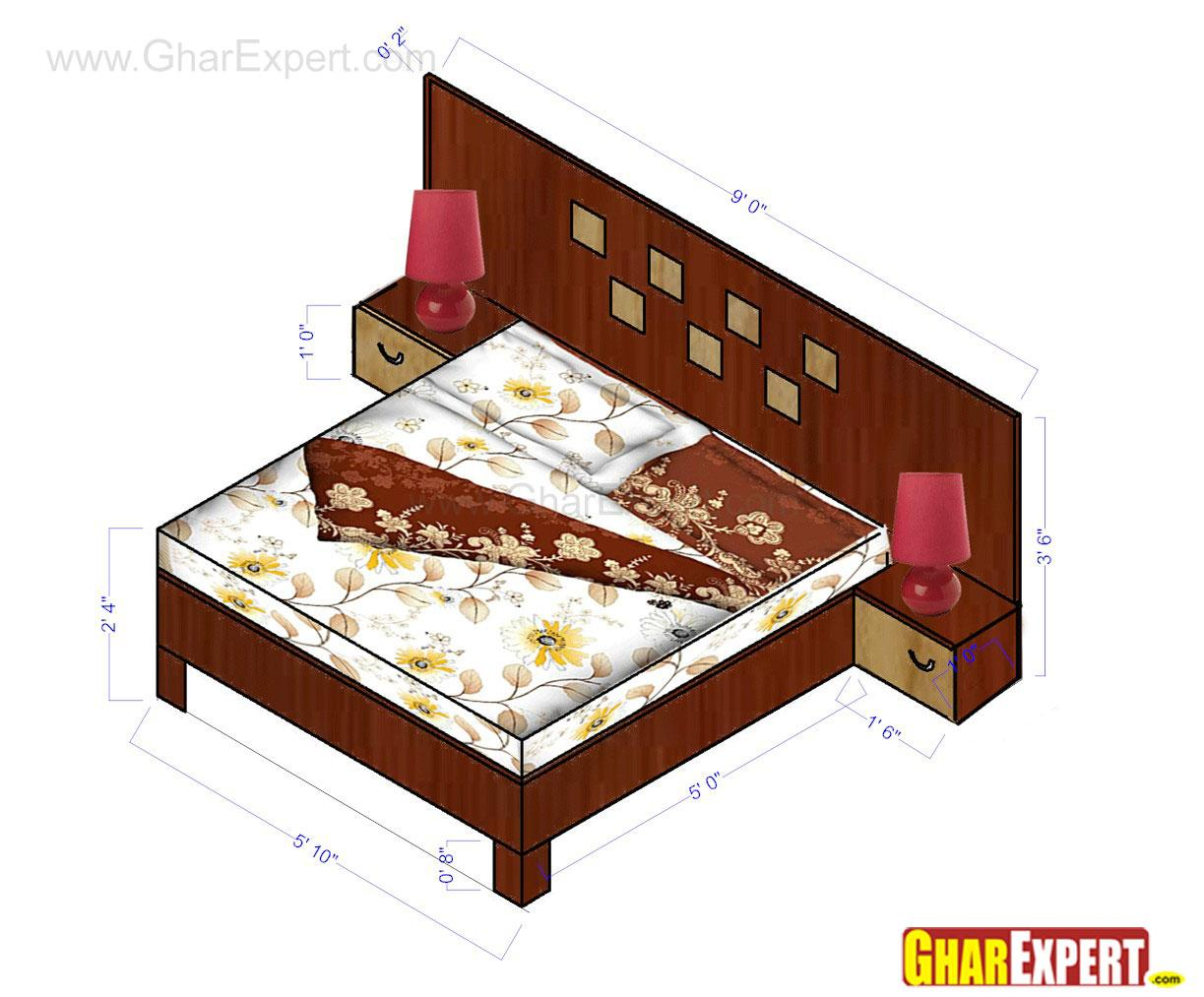 Simple wooden bed with straigh....