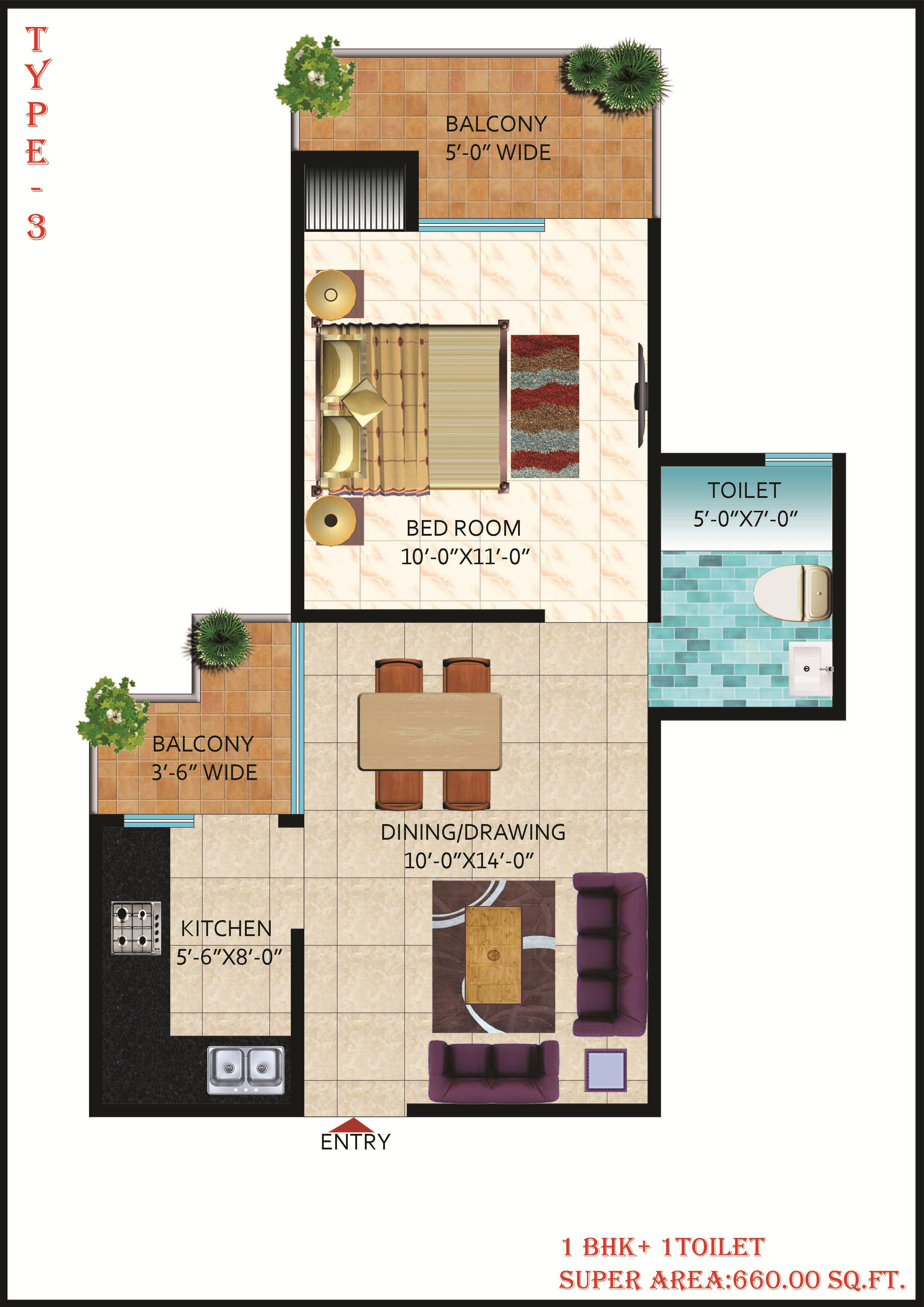 1 bhk layout