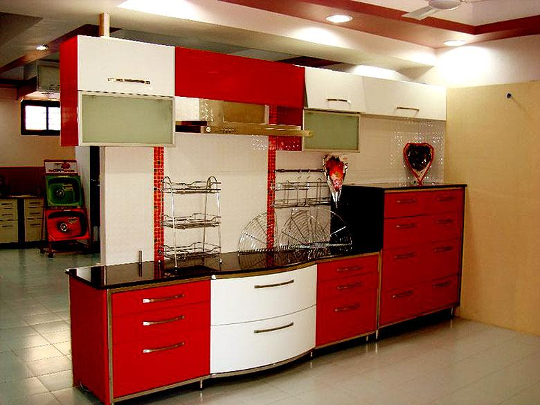 Modern Kitchen Design In Red A.