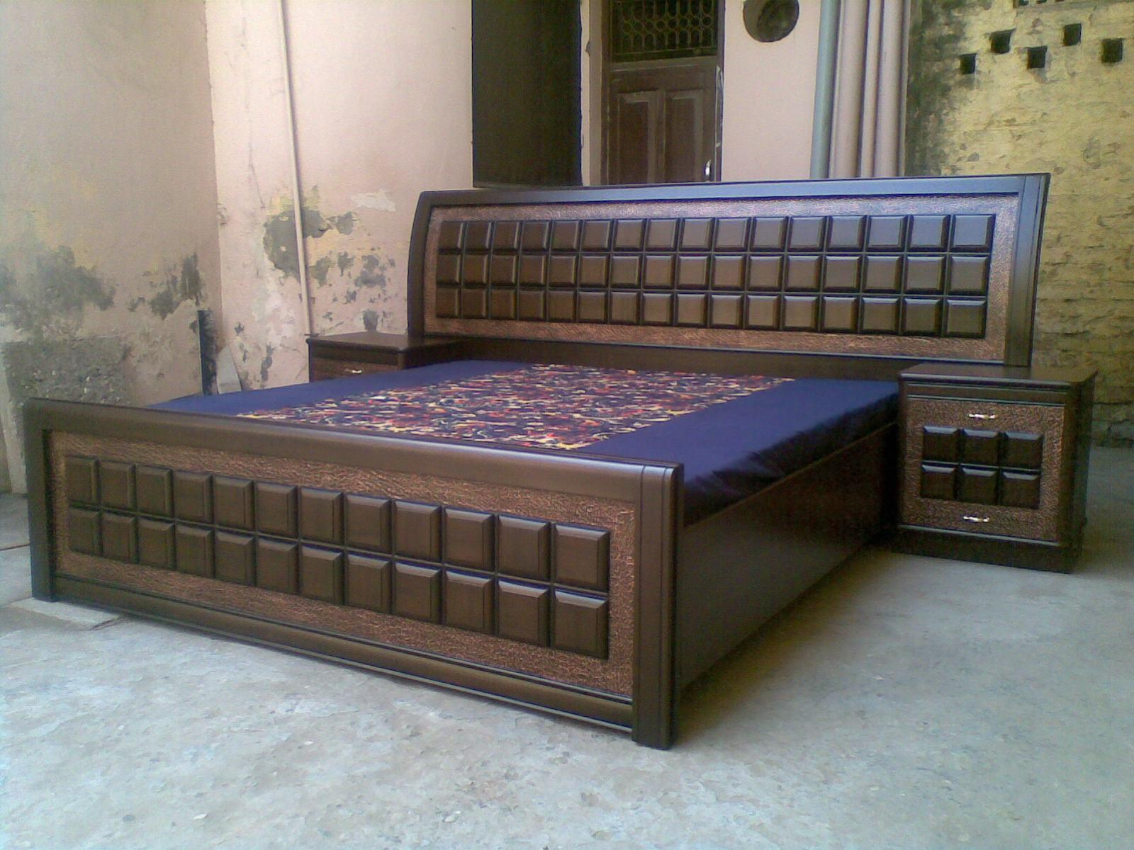 Custom made bed with side tabl....