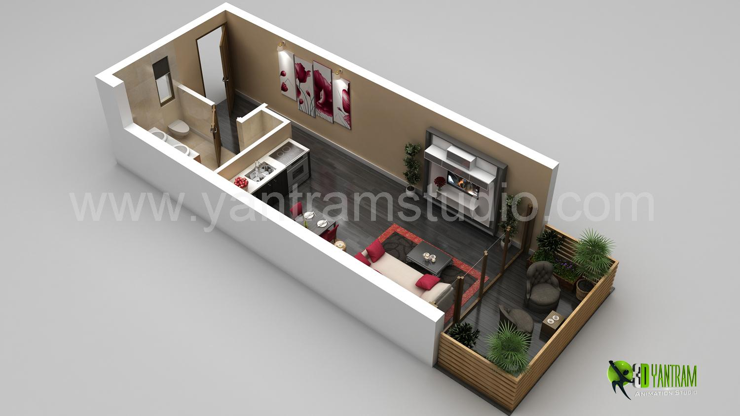 3D Small Home Floor Plan Rende....