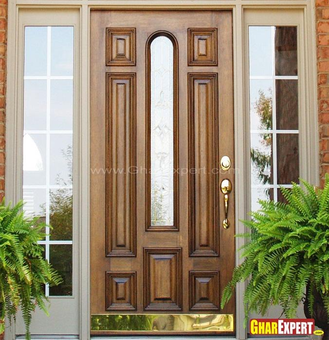 Wooden front door design gharexpert for Main door with french window
