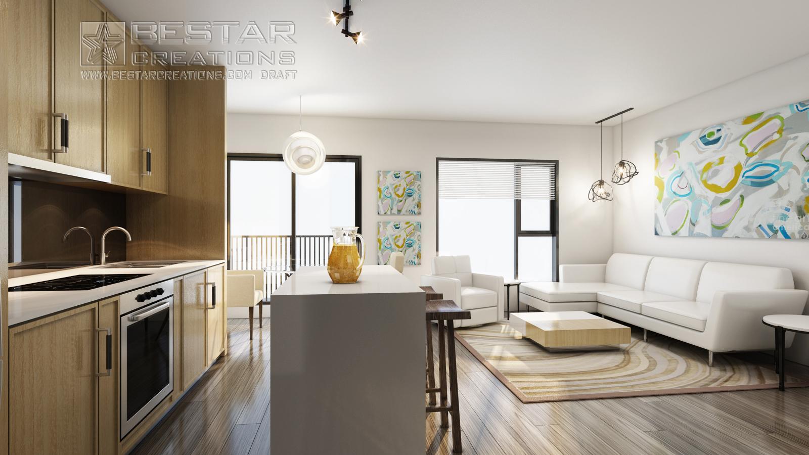 Kitchen room-3D rendering