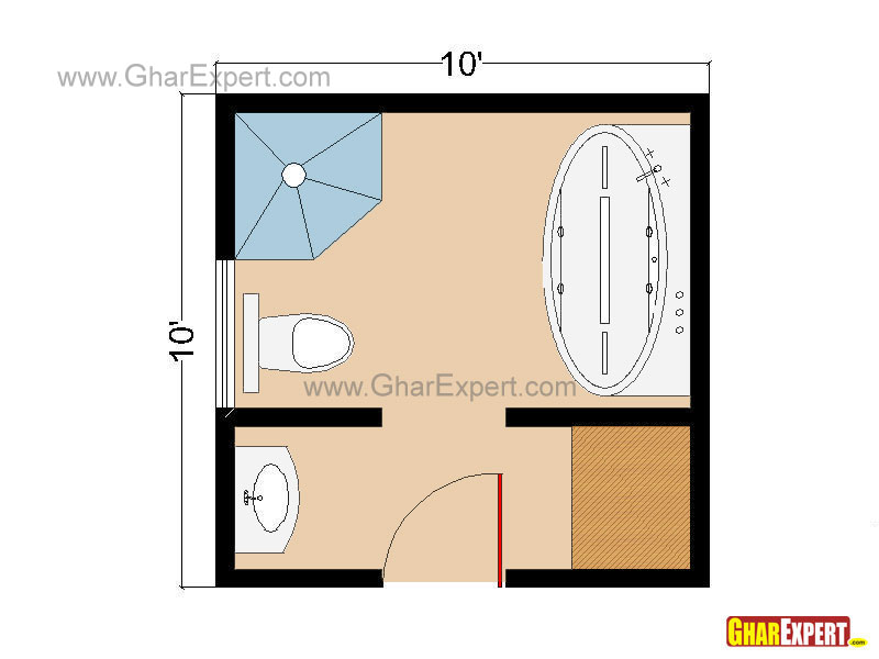 Full bathroom layout gharexpert for 100 square meters to square feet