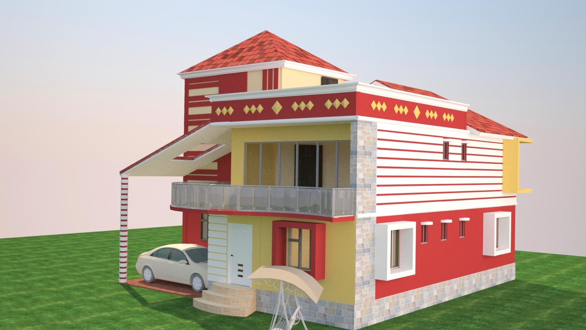 2 storey house elevation rende....
