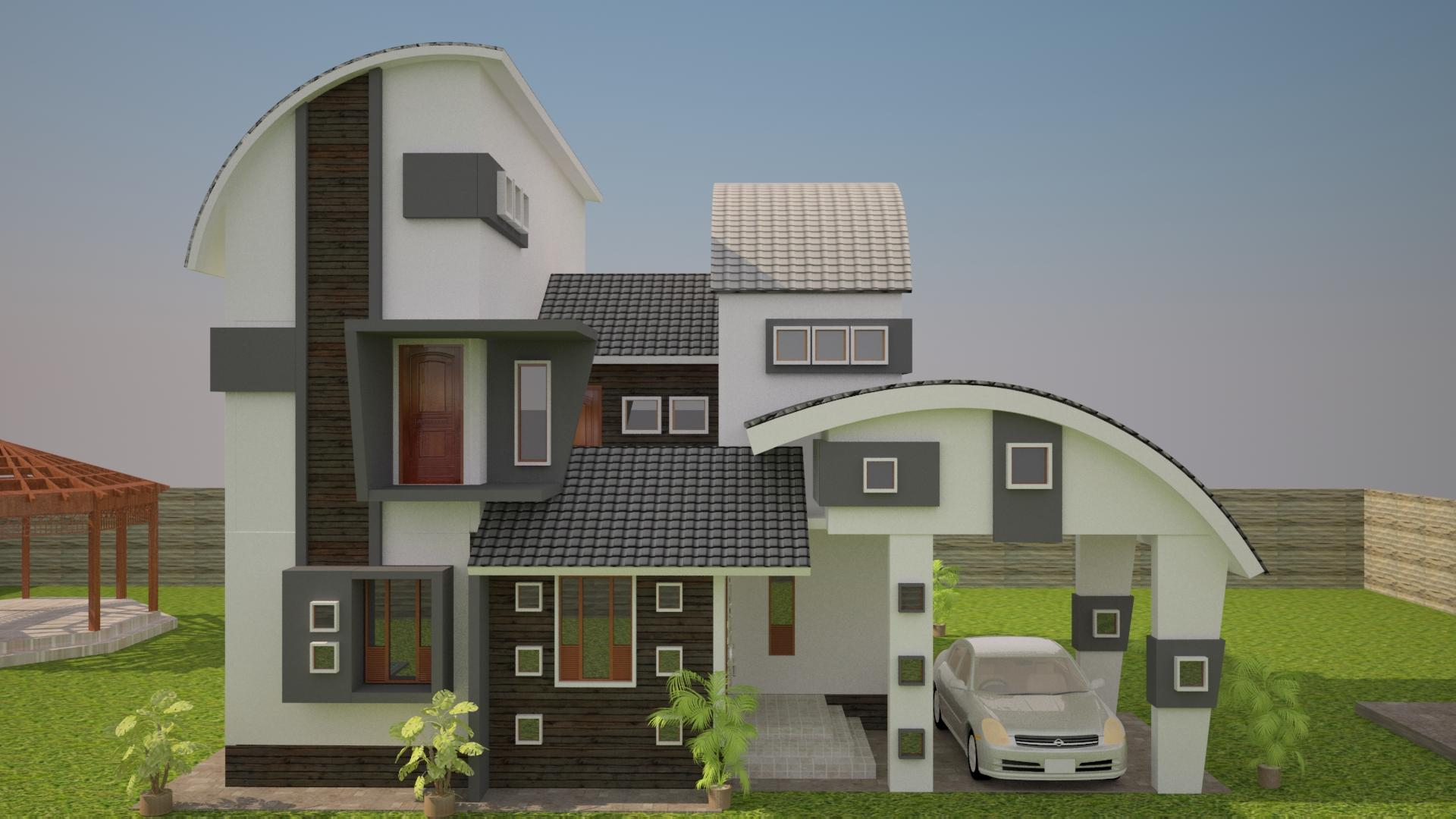 Front Elevation With Stilt Parking : Bunglow design elevation with a car park gharexpert