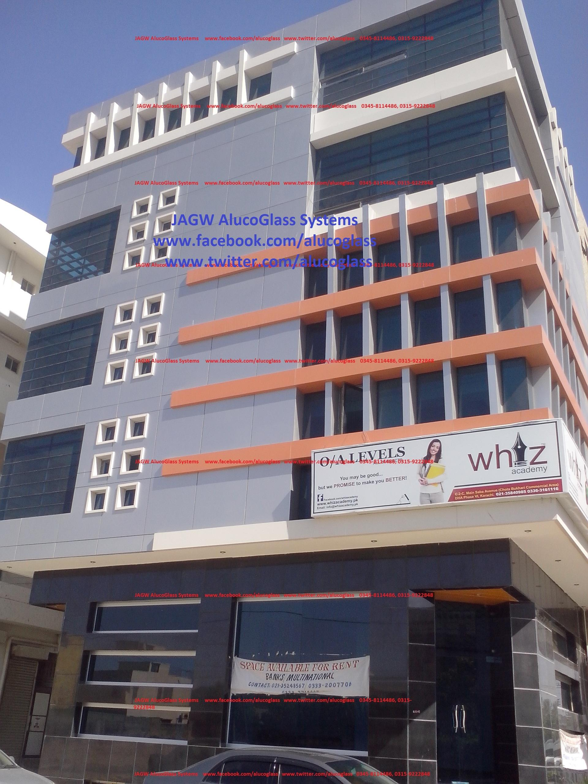 Building Front Glass Elevation : Curtain wall tempered glass and aluminum composite panel
