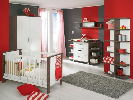 Red And Gray Painted Room For Cute Kids - Gharexpert