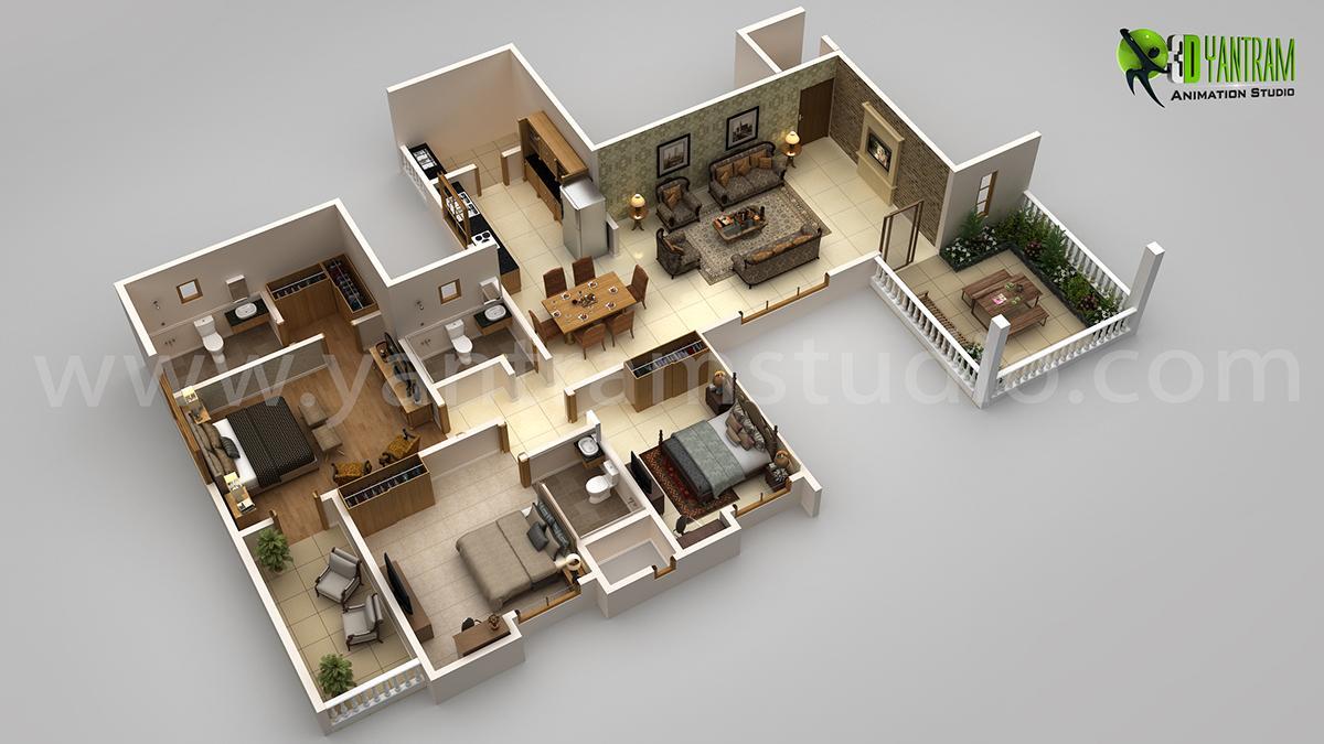 3BHK Modern 3D Floor Plan Desi....