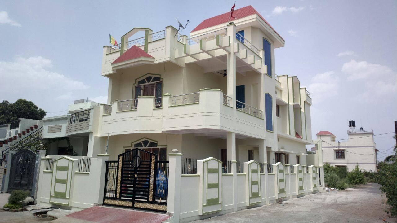 Front Elevation Designs In Punjab : Duplex house bhk corner plot with ss railing wooden door