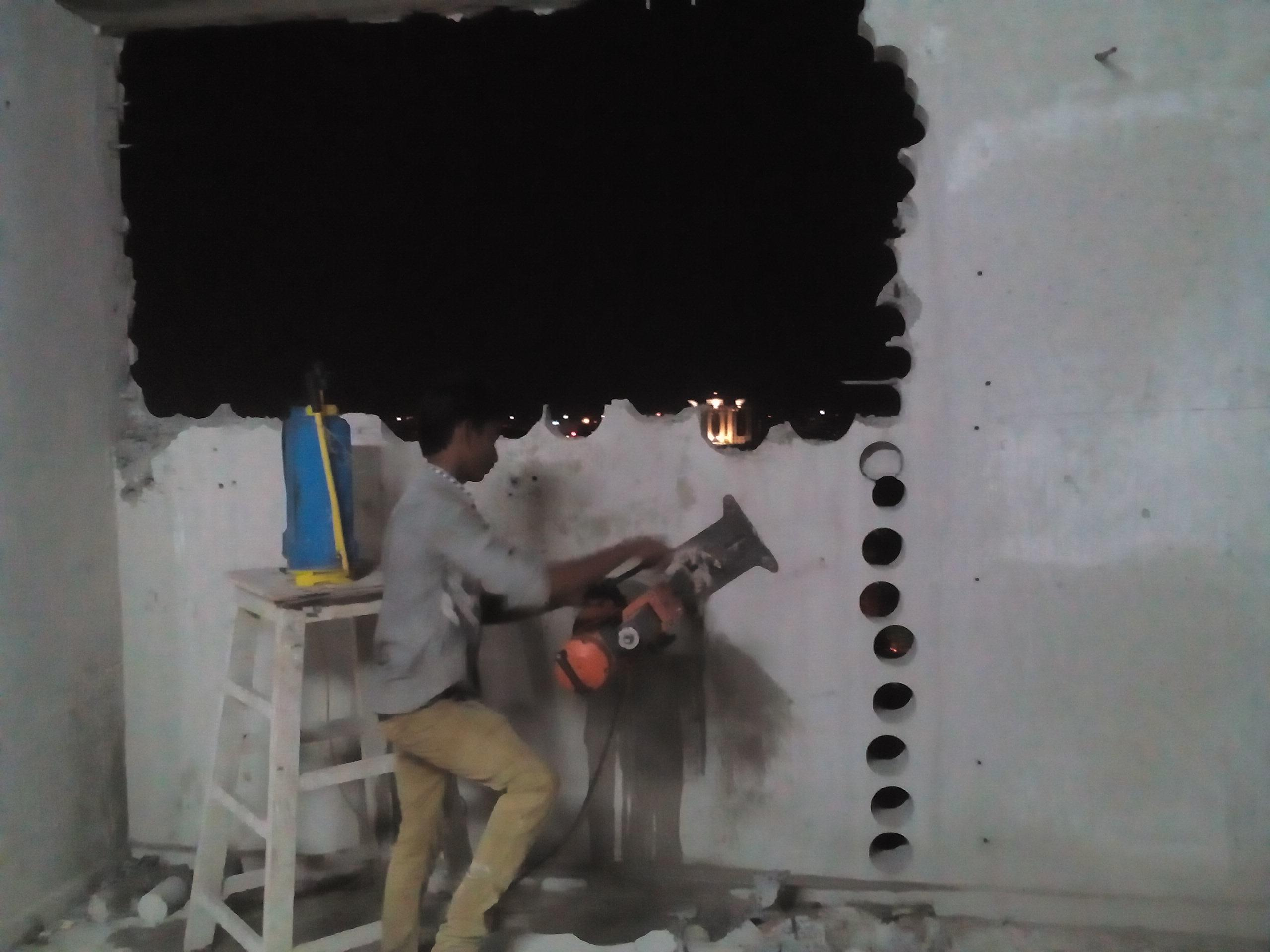 concrete wall cutting using co....