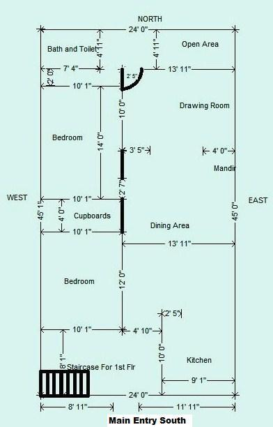 East facing house plans for 25x50 site for 25x40 house plan