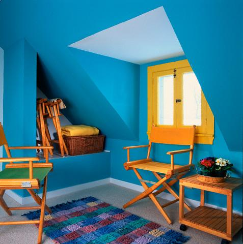 Blue painted room & Blue painted room - GharExpert