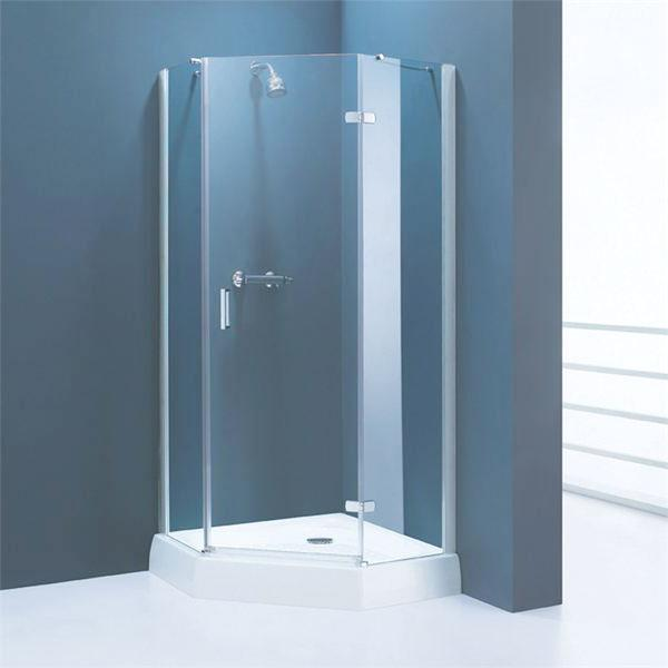 Corner shower enclosure in blu....