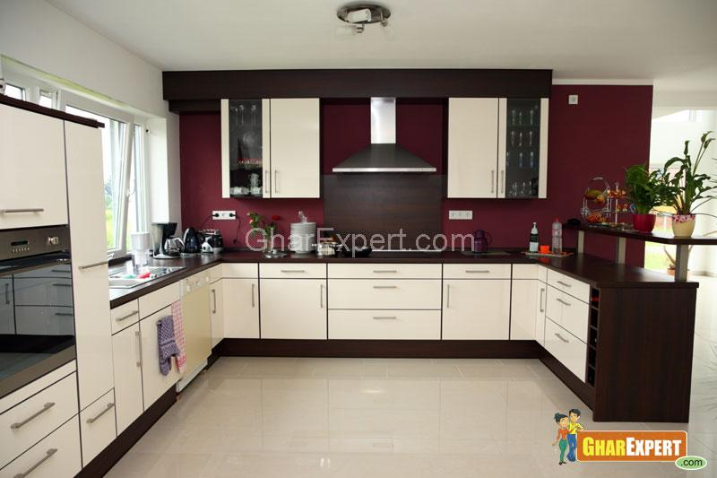 Kitchen Interior with Brown Co....