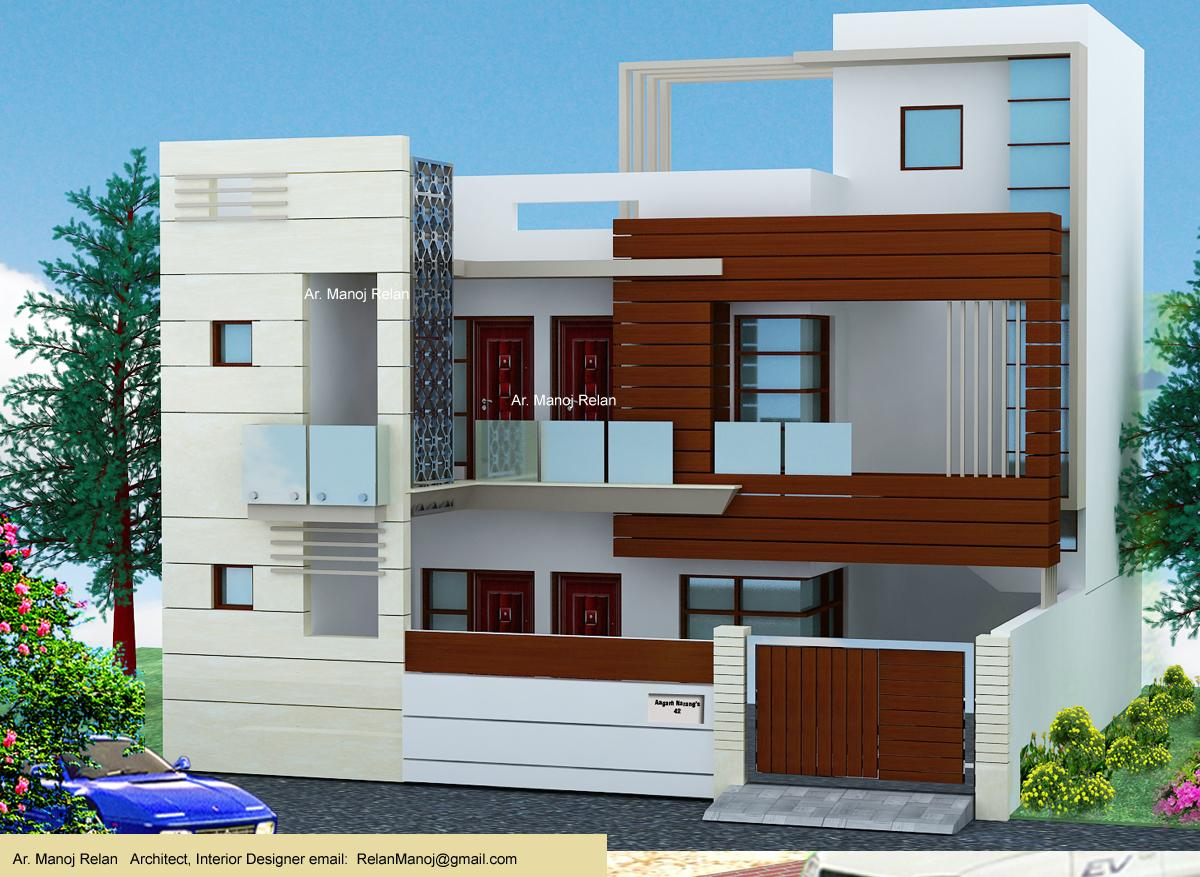 Building Front Elevation Paint : Wood cladding and wooden beams exterior elevation d