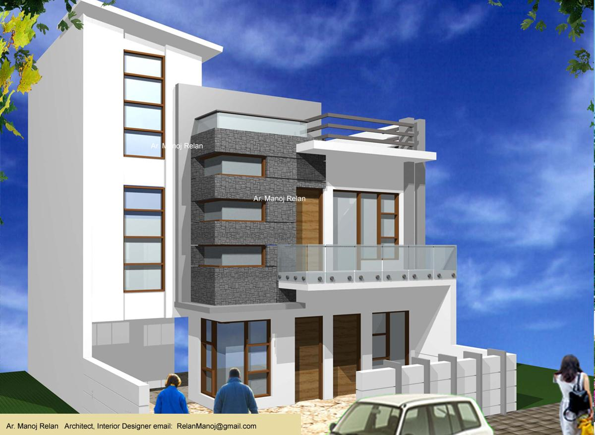 Front Window Elevation Design : Corner window first floor used as highlight in this