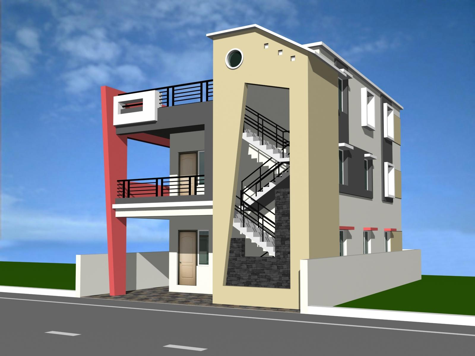 Building elevation gharexpert for 3 storey building front elevation