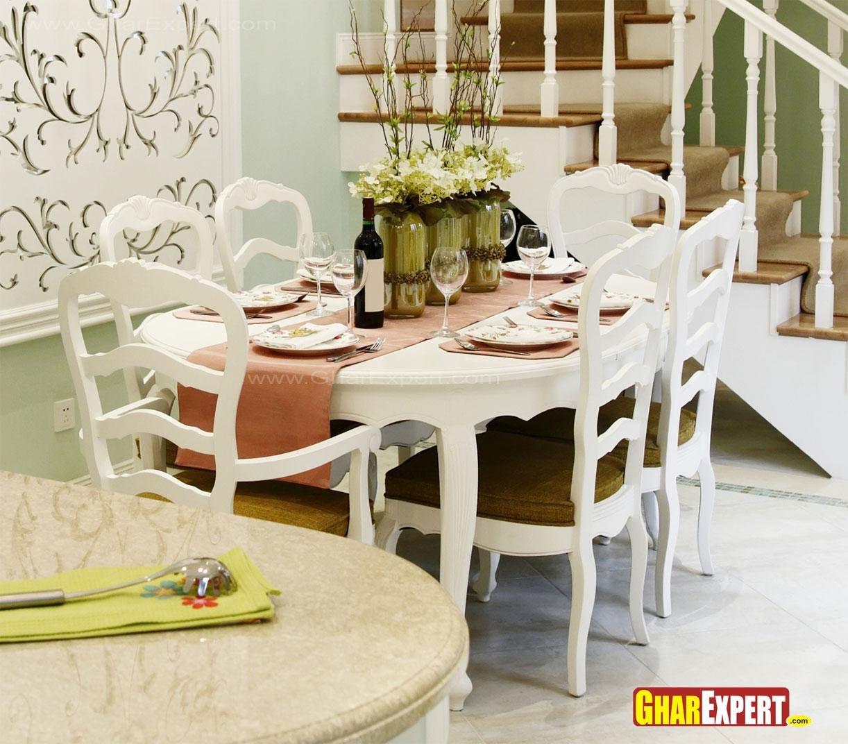 6 seater Wooden dining in whit....