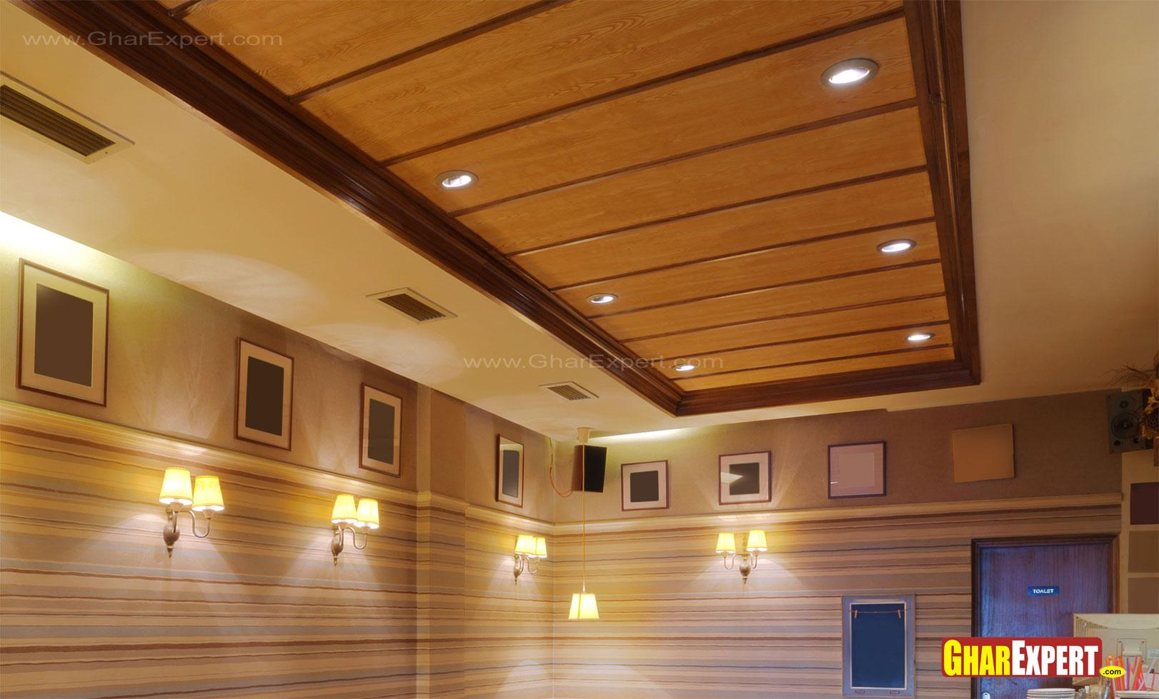 Wooden plank ceiling with lighting for restaurant GharExpert : 8162012112246 from www.gharexpert.com size 1622 x 979 jpeg 164kB