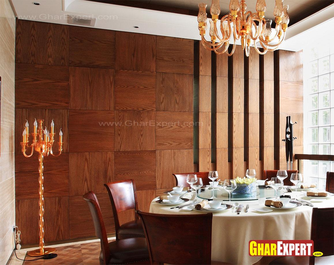 Restaurant Wall Cladding : Wooden wall cladding style for dining room gharexpert