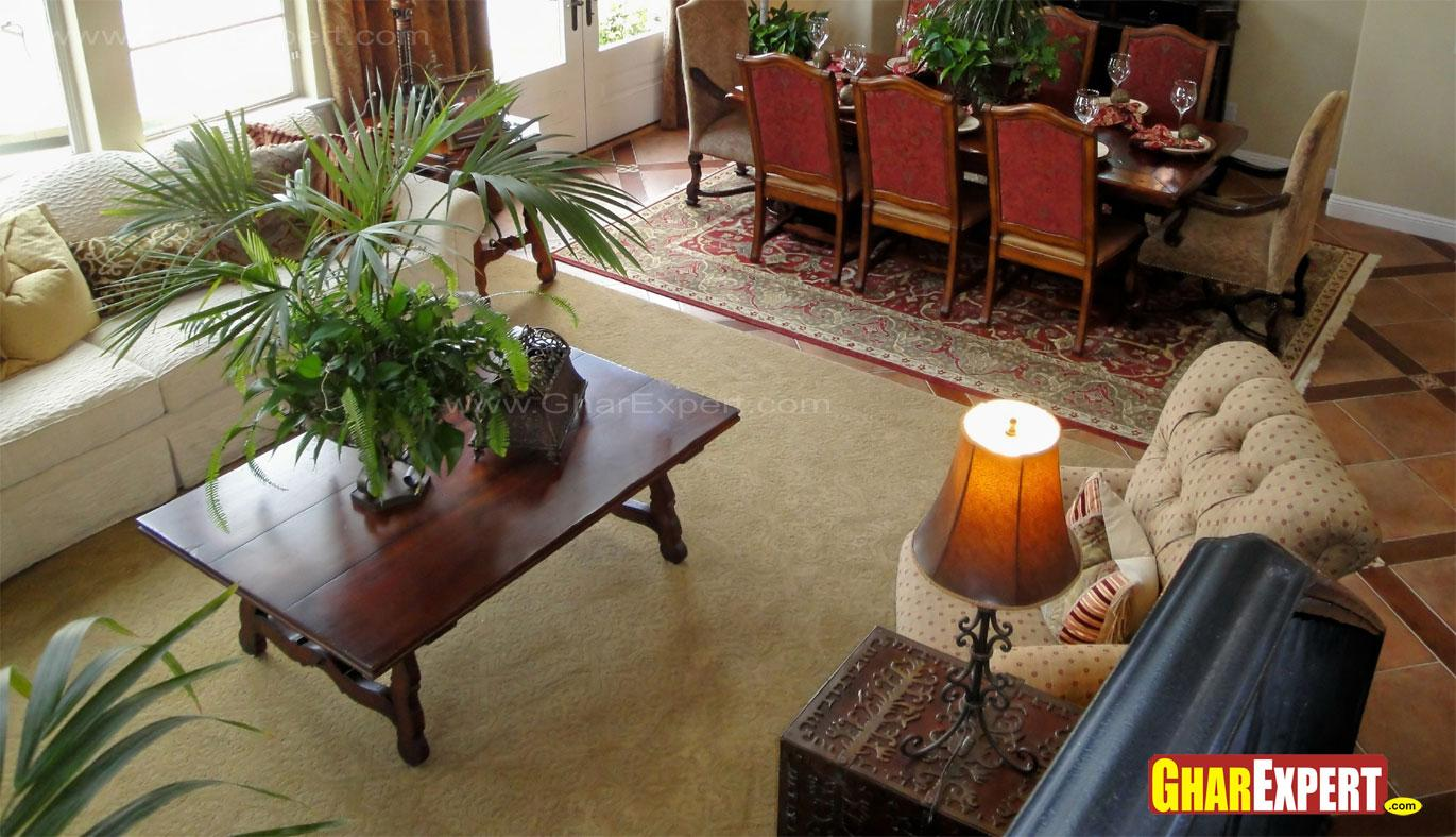Furniture arrangement with sofa and dining table in living - Living dining room furniture arrangement ...