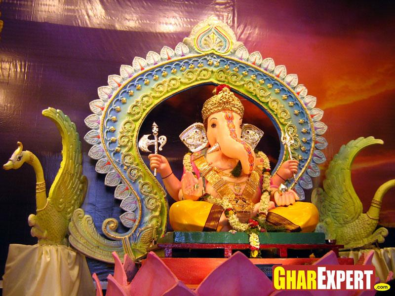 Pics for ganesh chaturthi decoration ideas at home for Background decoration for ganpati