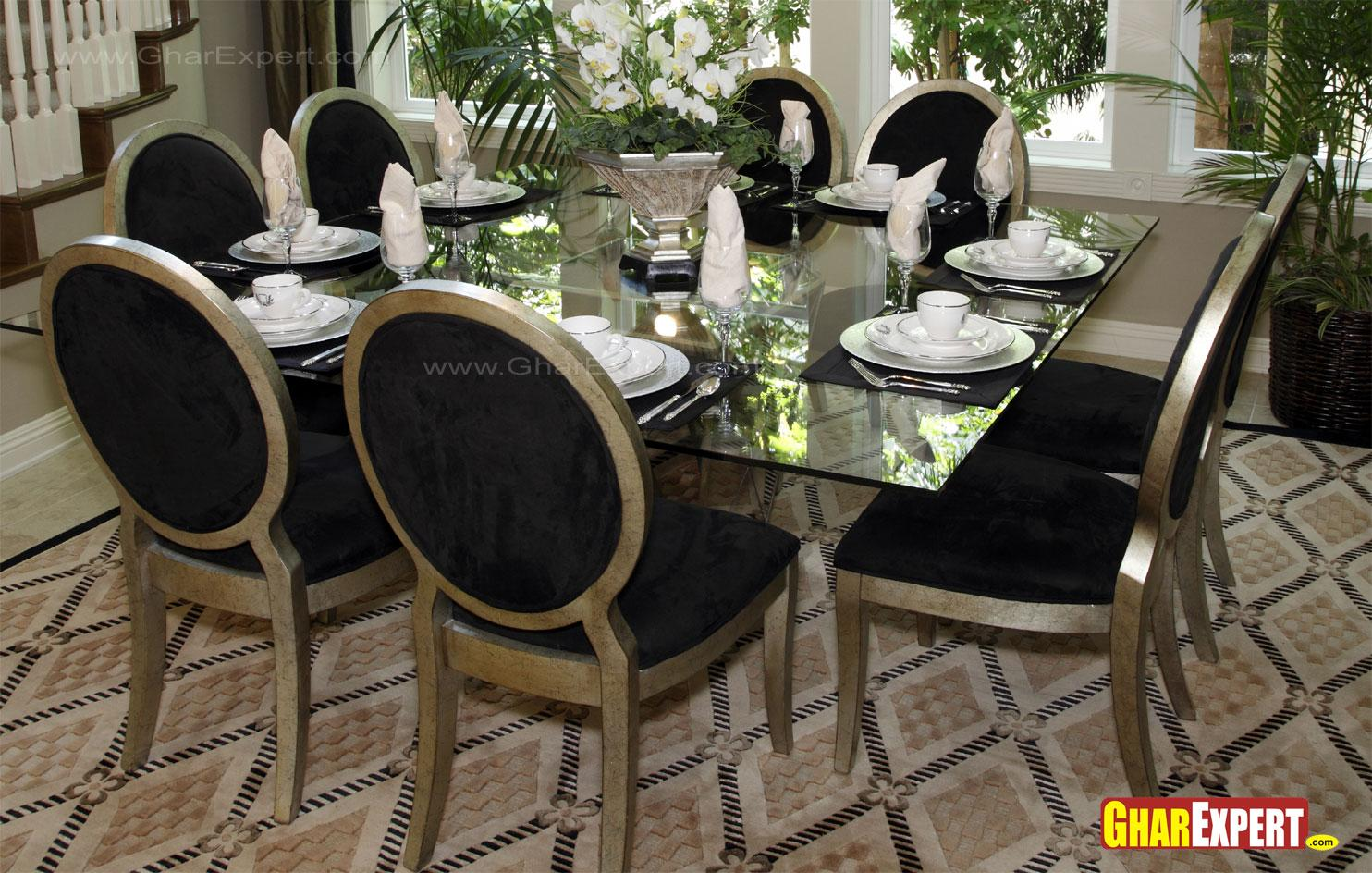 Silver frame dining room furniture gharexpert for Decolam designs for living room