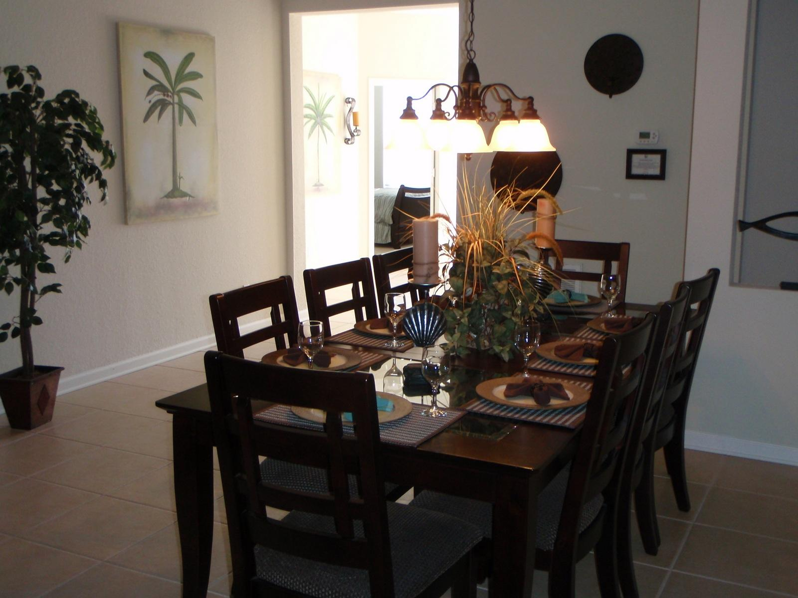 8 Seater Dining Table With Rough Tile Flooring And