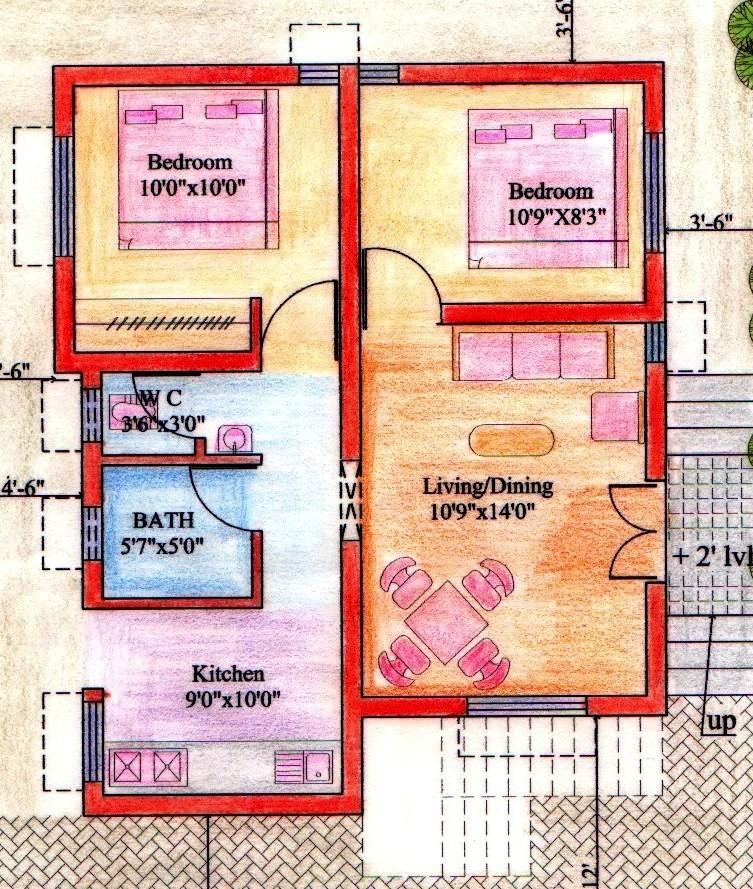 Floor plan for 2bhk house gharexpert for 2 bhk house designs in india