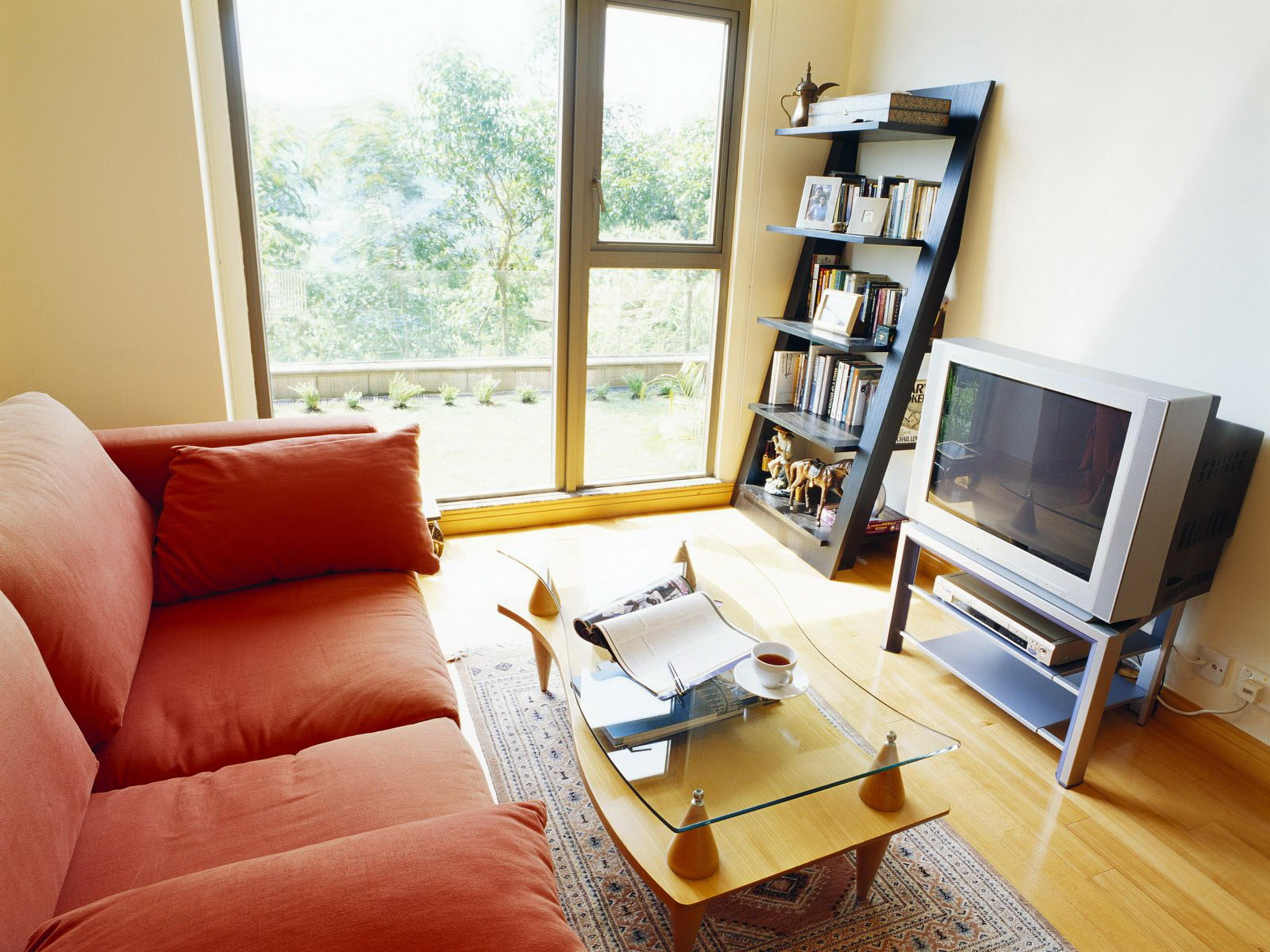 Simple Living room with TV unit, Center table and sliding ...