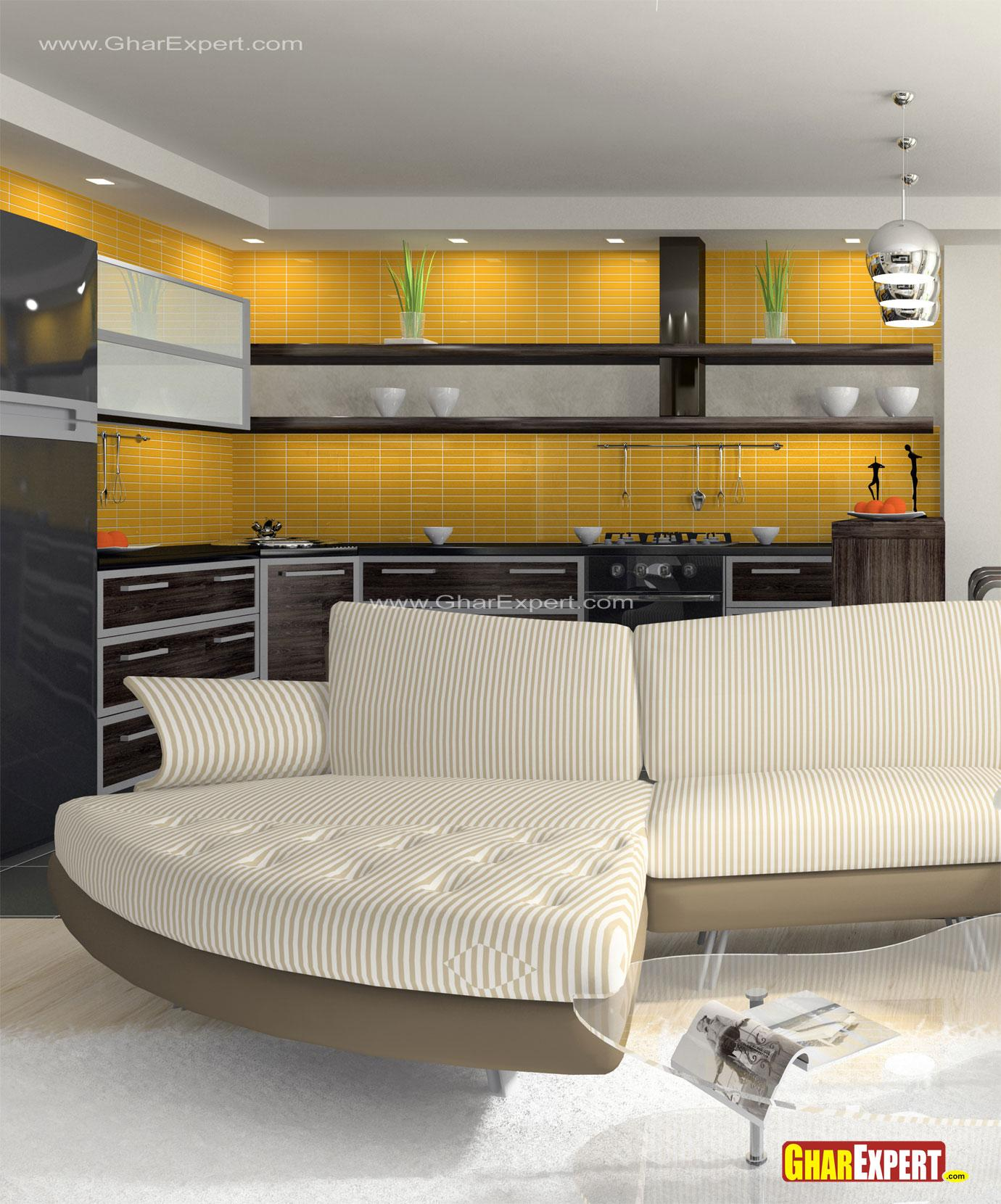 Open Living Room Kitchen Paint Colors: Open Kitchen In Bold Colors For Living Room