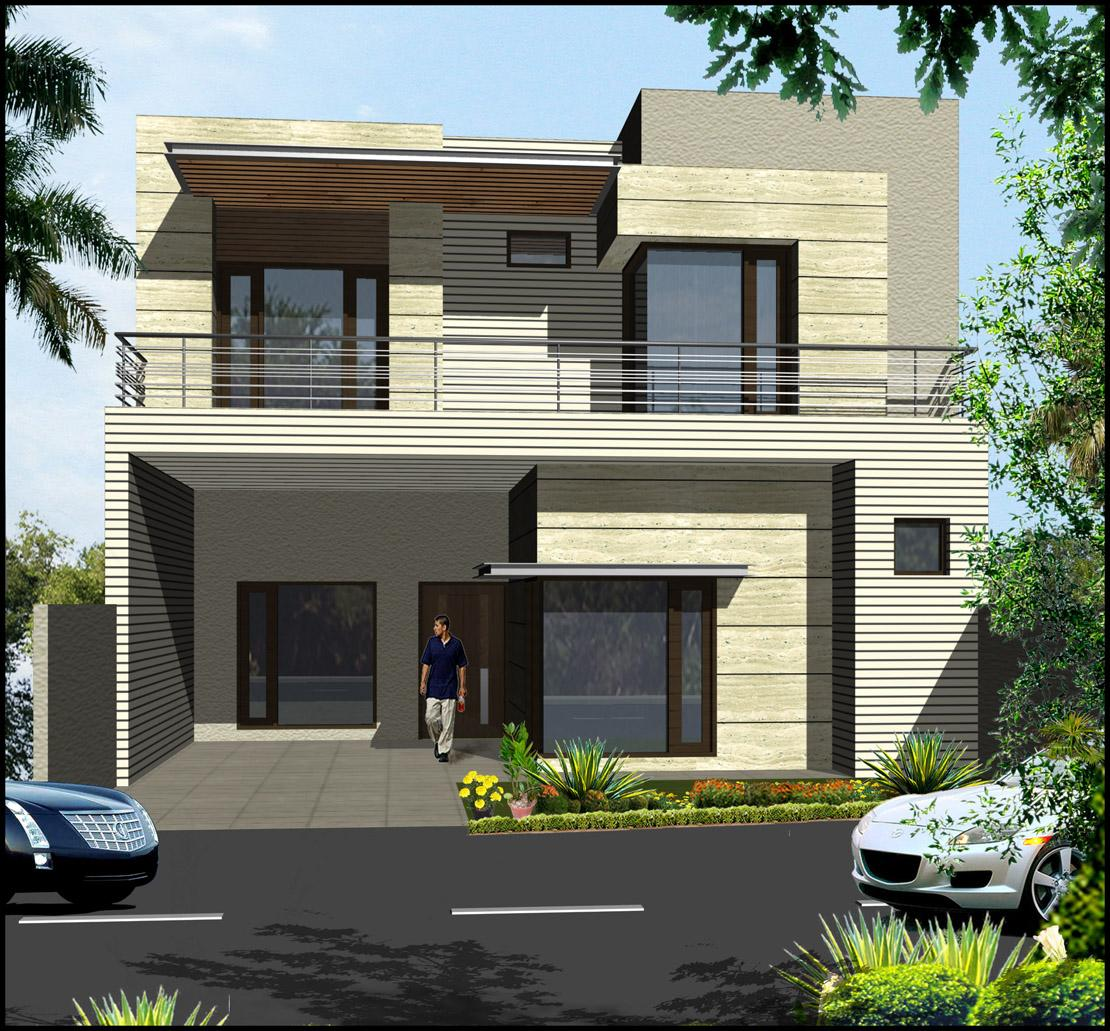 Double Storey Elevation Design With Large Windows And Greenish Stone Cladding Gharexpert