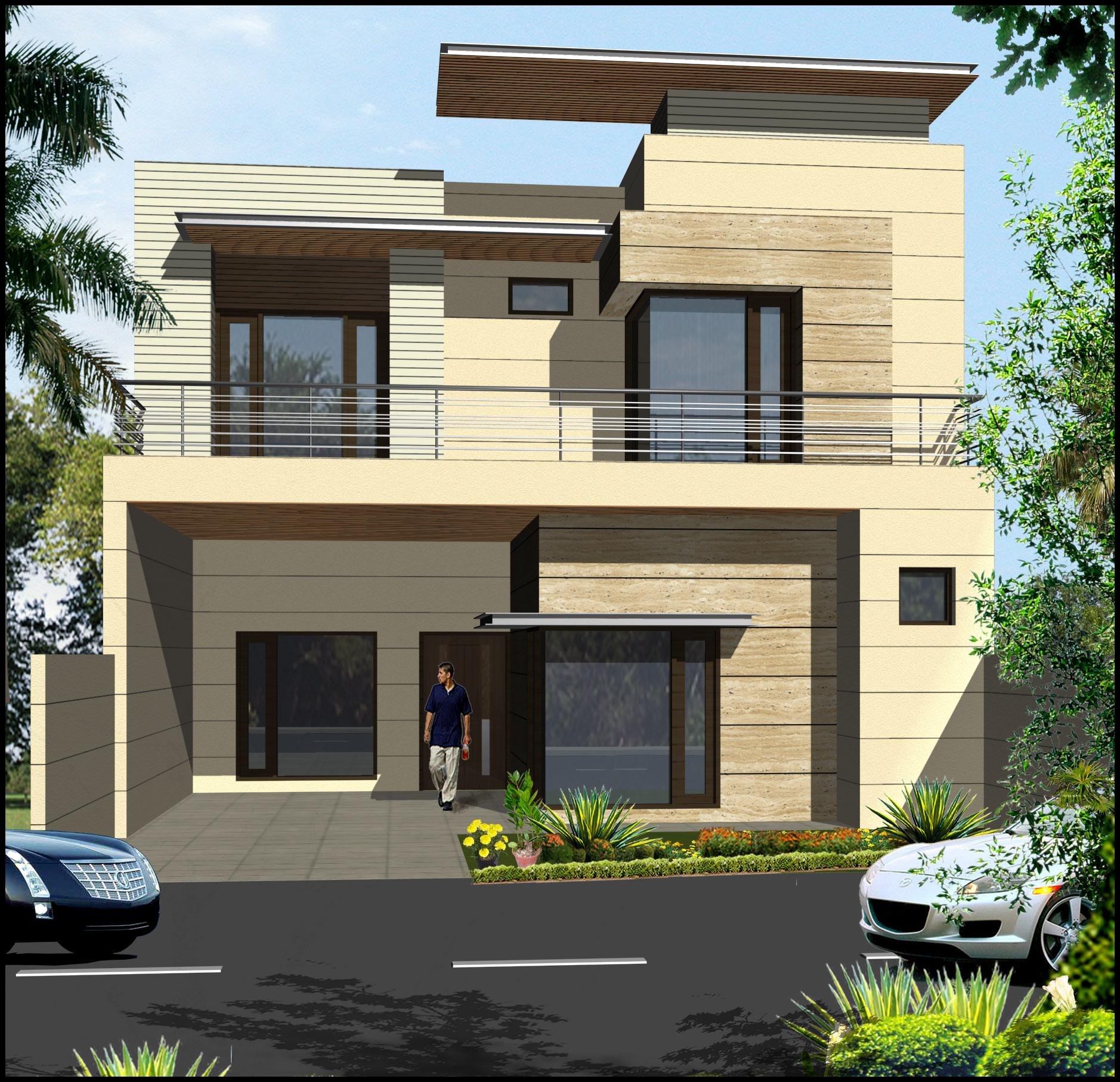 Front Window Elevation Design : Double storey elevation design with large windows and