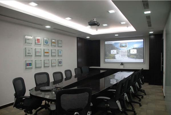 Conference room ceiling and de....