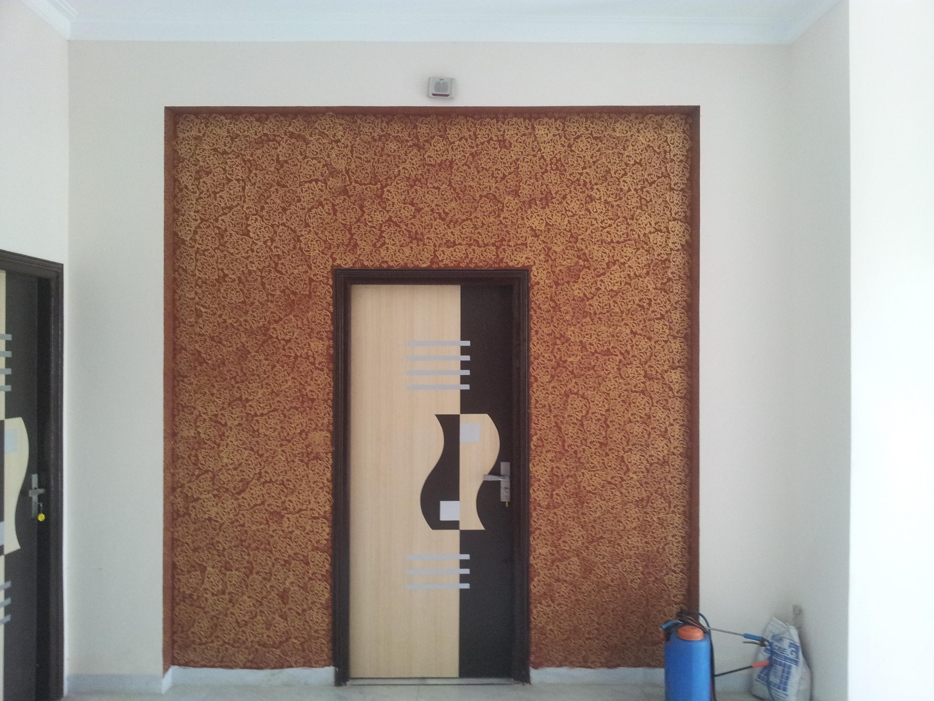 mica door in textured wall