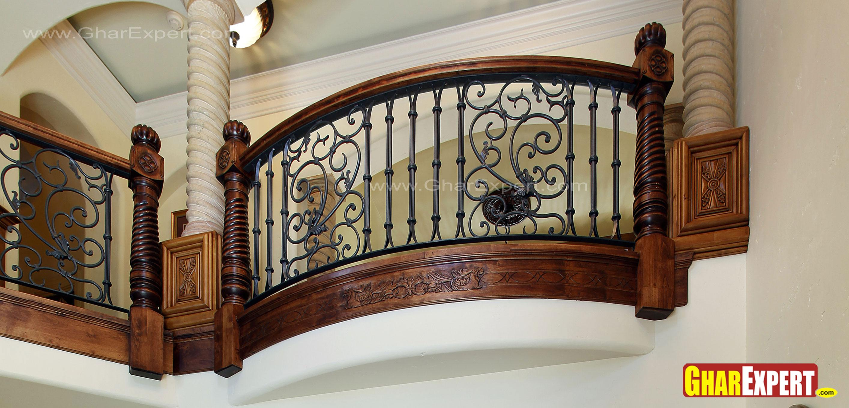 Iron Grill With Carved Wooden Balustrades Gharexpert