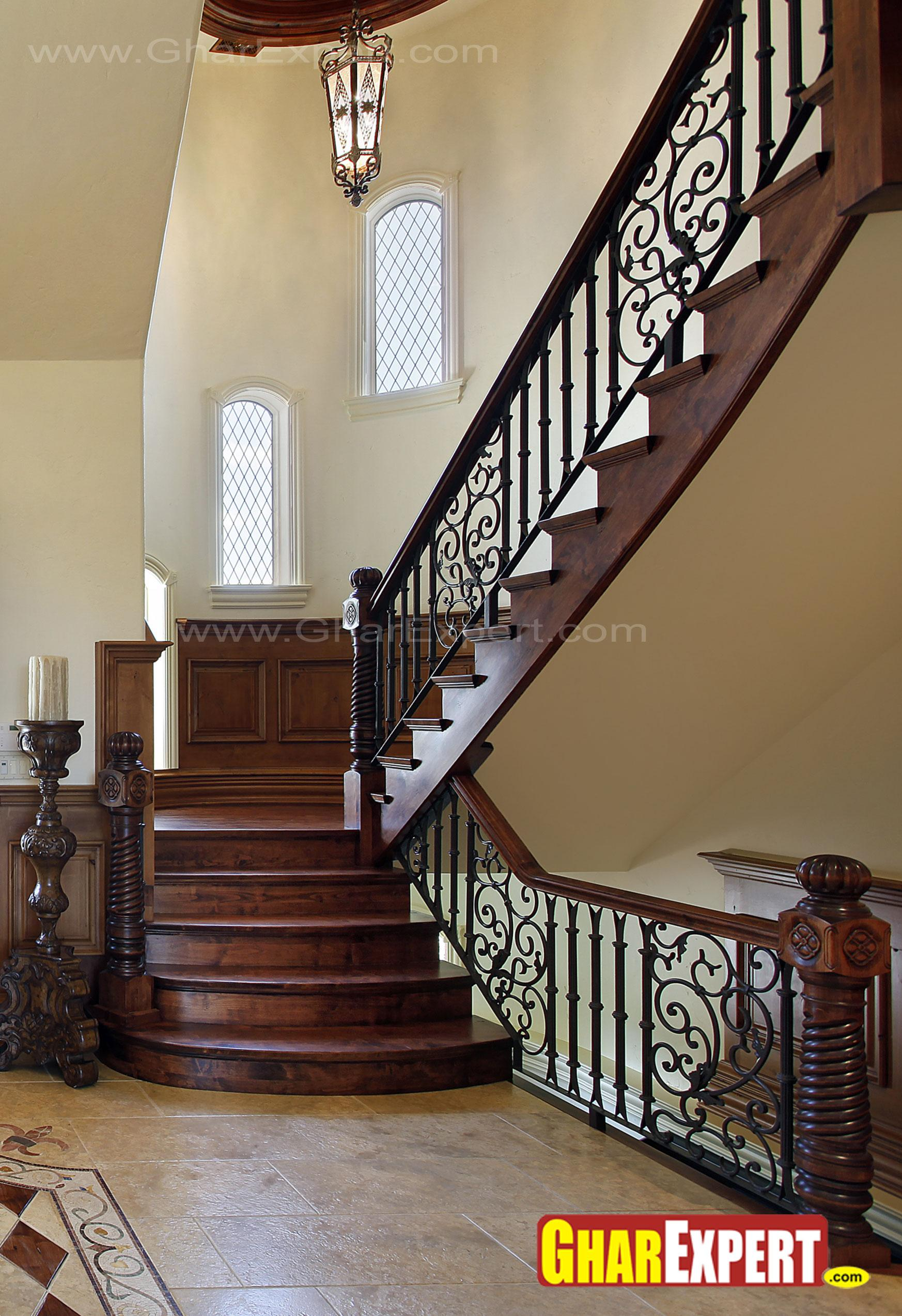 Wooden stairs railing design gharexpert for Exterior stairs designs of indian houses