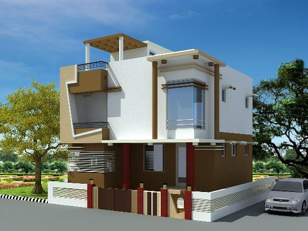 Duplex House Design front elevation - GharExpert