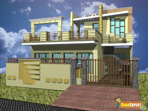 Front Boundary Wall Elevation : Gharexpert exterior elevation design