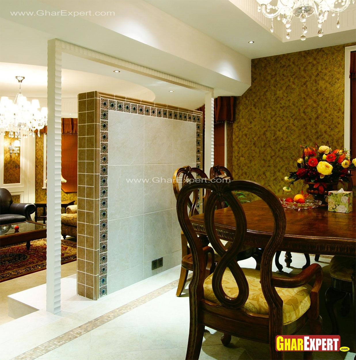 Tiled wall partition in drawing room for dining area gharexpert - Partition kitchen dining ...