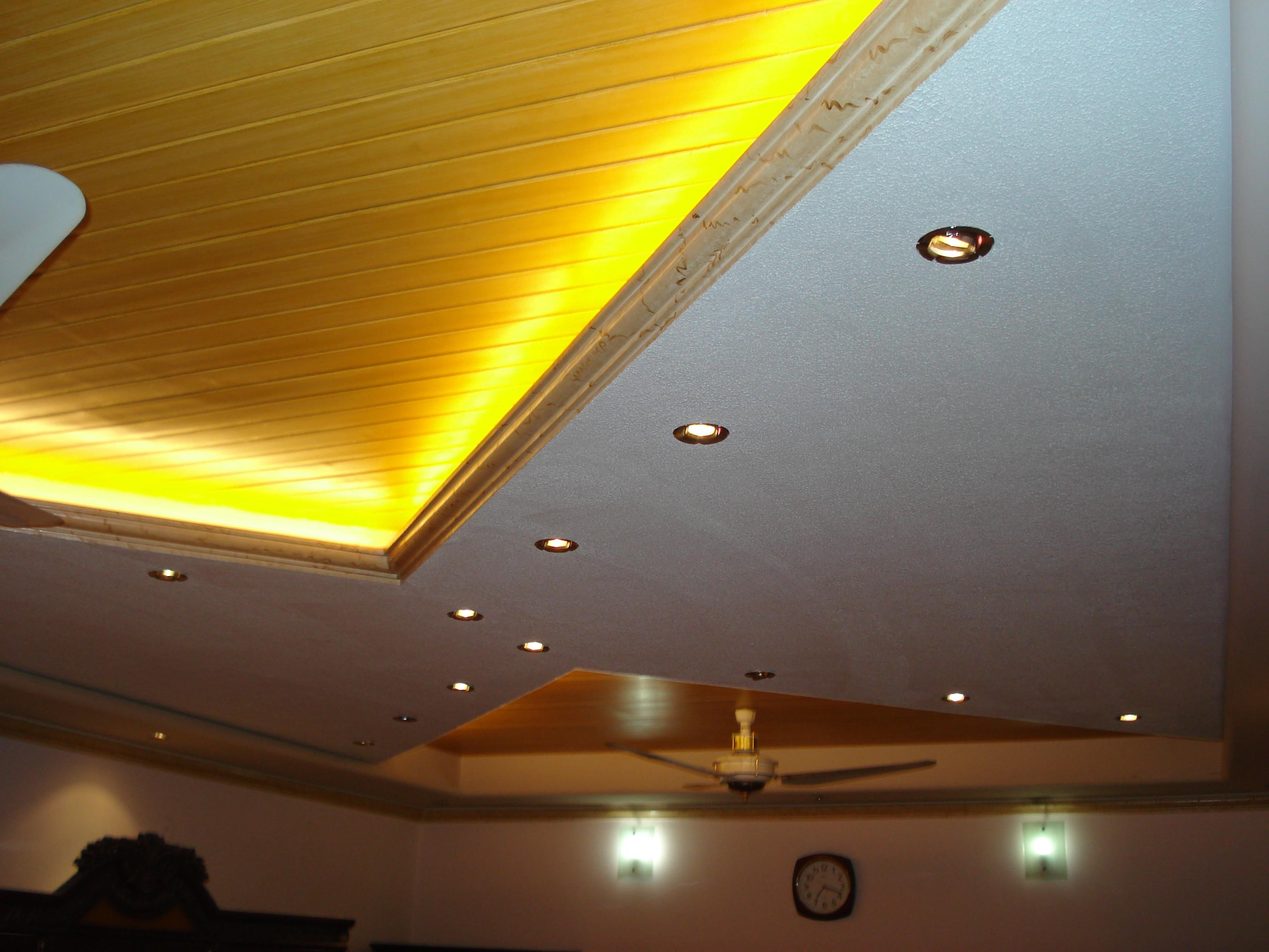 False ceiling design with yellow lighting gharexpert - Lights used in false ceiling ...