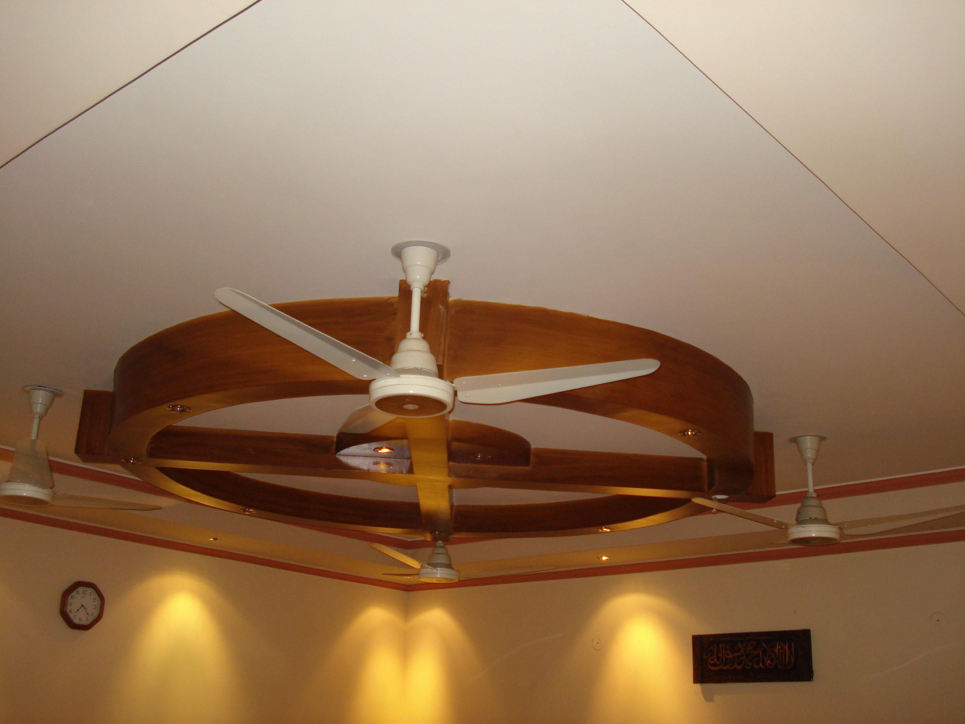 Wooden Ceiling Design With Fan Gharexpert