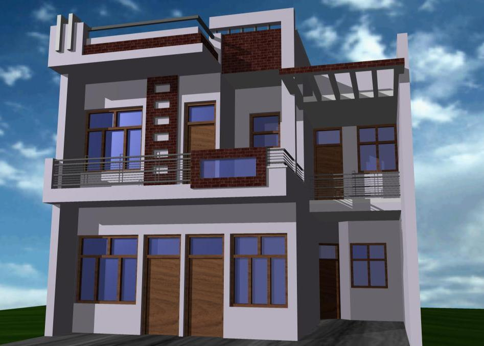Front Elevation Railing : Duplex front brick cladding and iron steel railing on