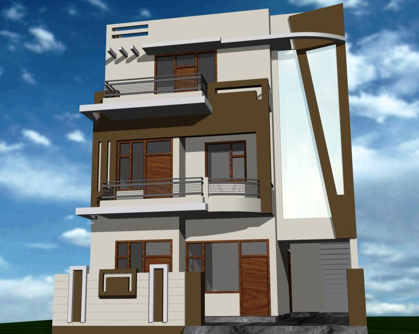 Front Elevation Wall Design : Front colony house with outside wall design simple