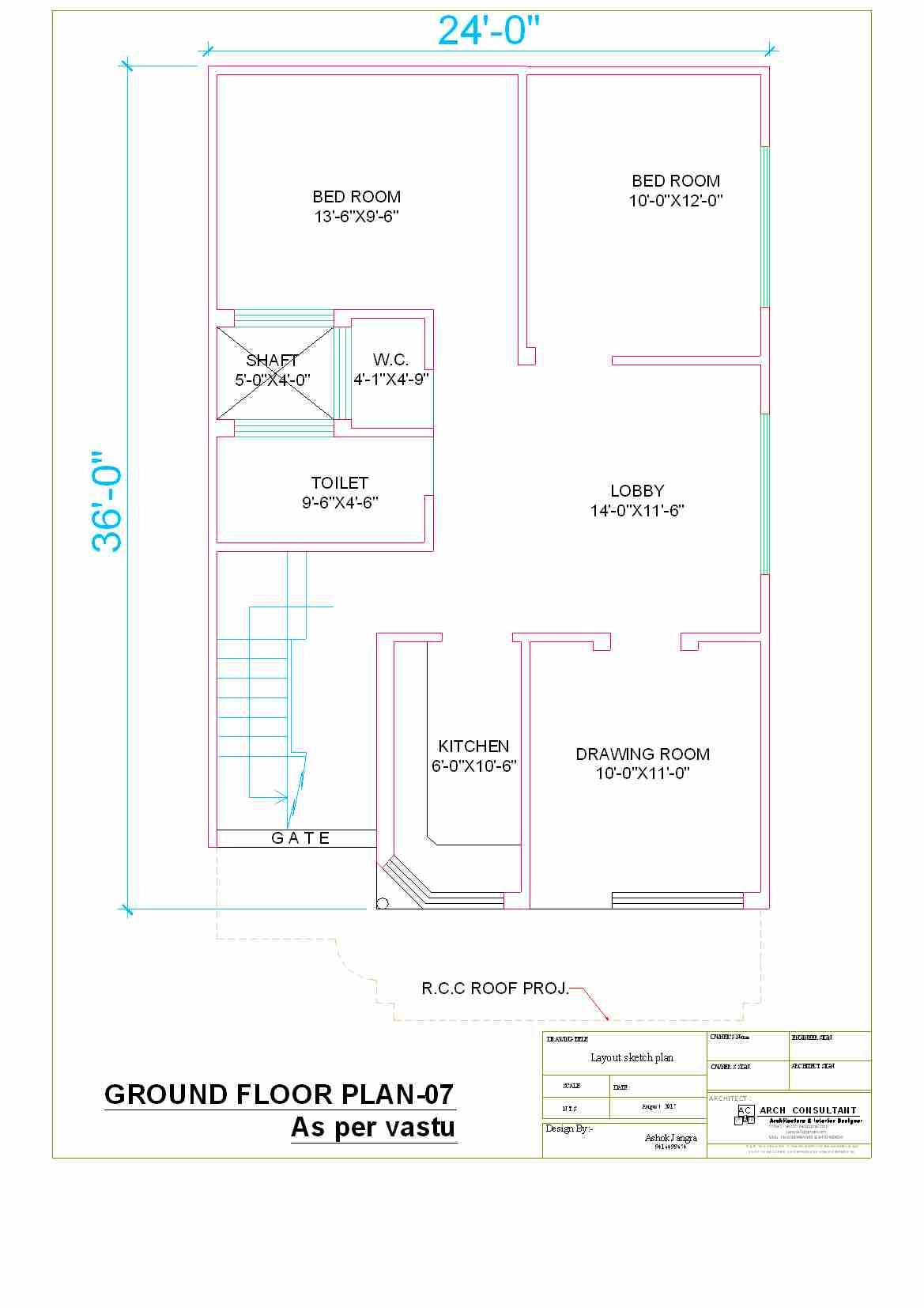 24* x 36* house plan - GharExpert