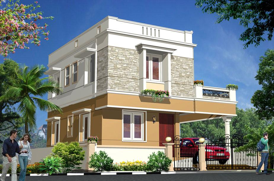 The gallery for house front compound wall design for Different elevations of house
