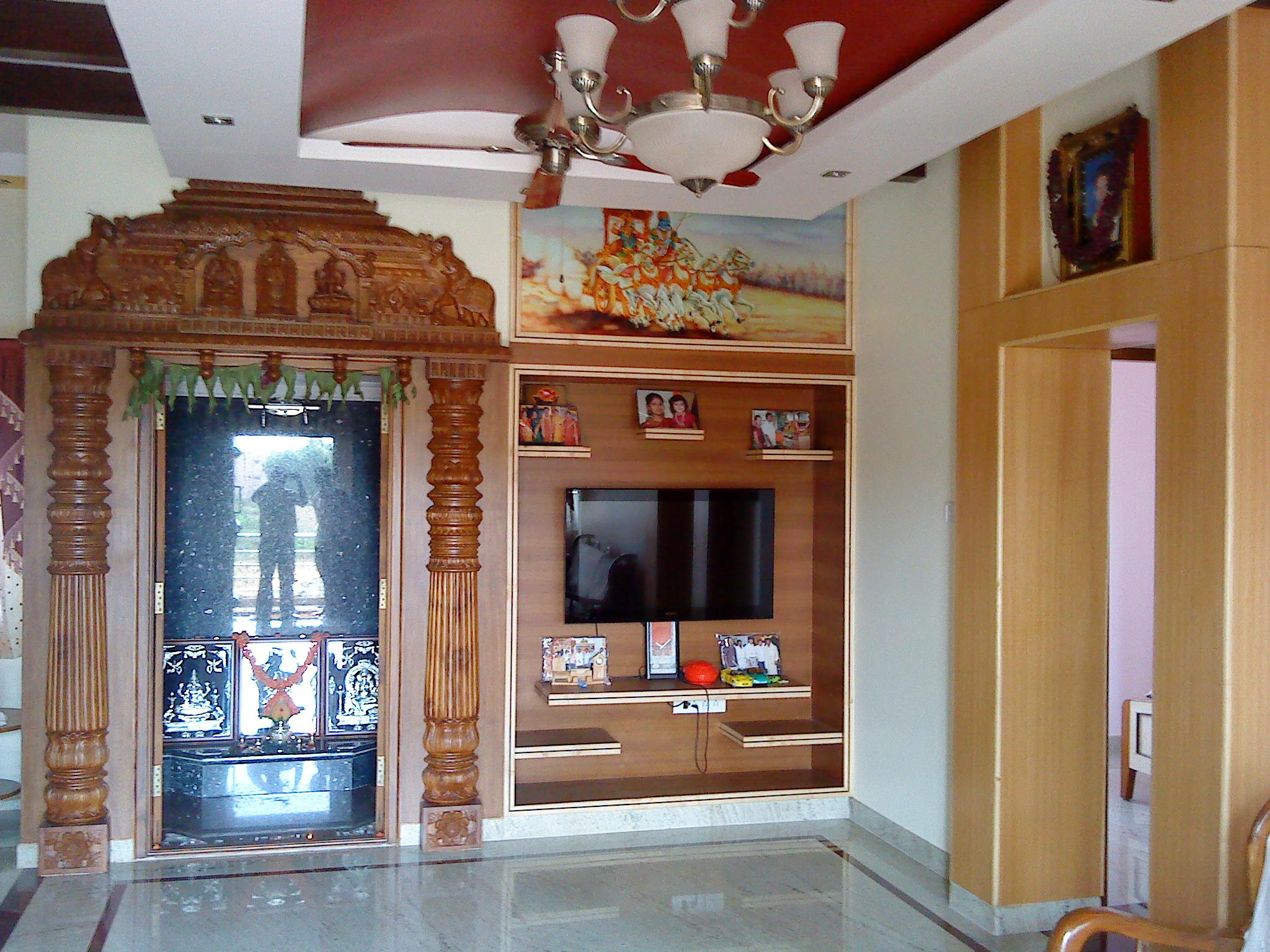 Pooja Room Designs In Living Room Puja Room With Tv Cabinet Gharexpert