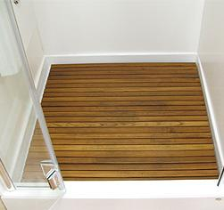 Wood deck inside shower enclos....